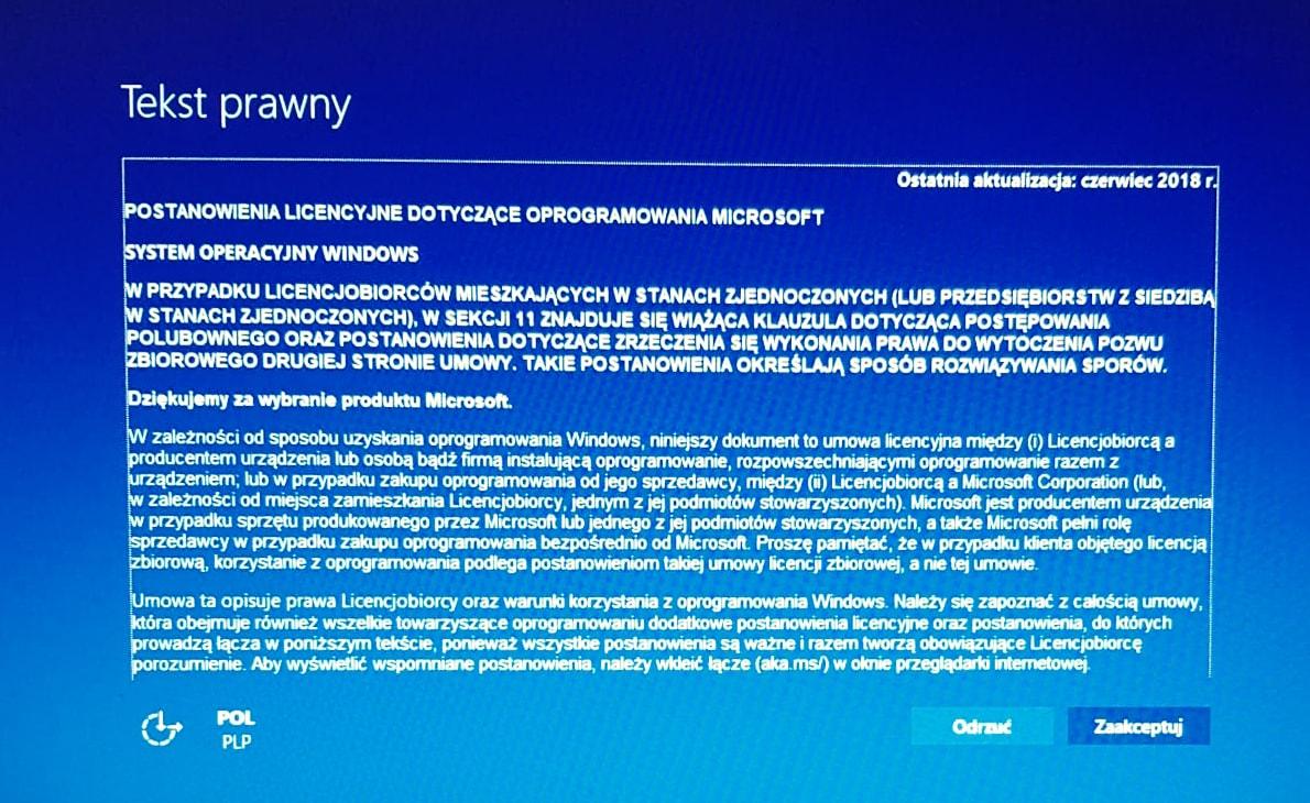 Tekst Prawny - Windows 10
