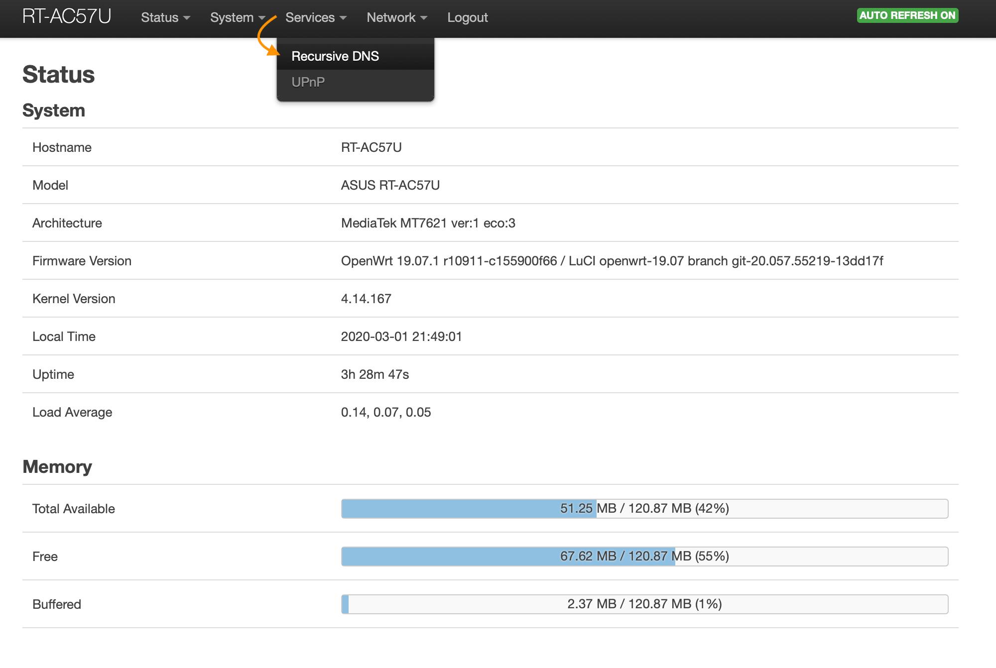 OpenWrt Status Services Recursive DNS